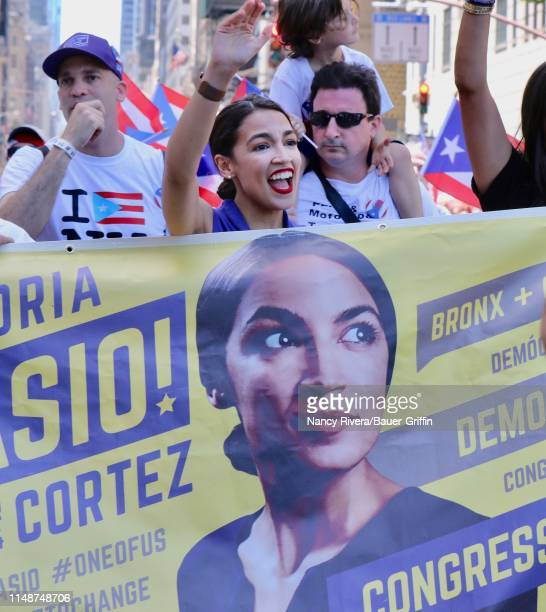 Alexandria OcasloCoaslo is seen at the 2019 Puerto Rican Day Parade on June 09 2019 in New York City