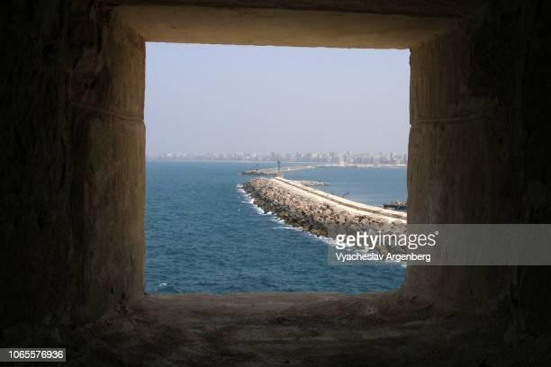alexandria port on the mediterranean sea, egypt - argenberg bildbanksfoton och bilder