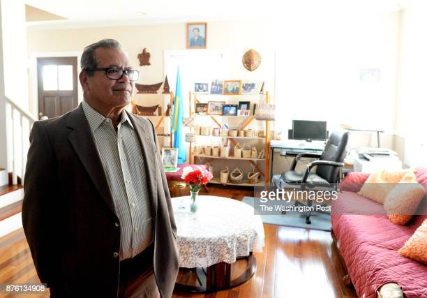 Alexandria VA 102717 Hersey Kyota the ambassador for the Republic of Palau and his wife are shown in a photograph with the Obamas The photo sits on a...