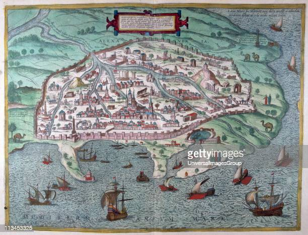 Alexandria with Mosque in centre of the city and its harbour Egypt from an 18th century map