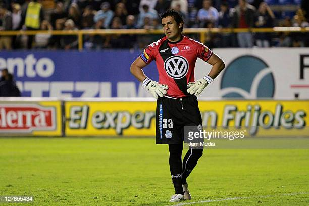 Alexandro Alvarez of Puebla react during a match as part of the Apertura 2011 at Alfonso Lastras Stadium on October 1, 2011 in San Luis Potosi,...