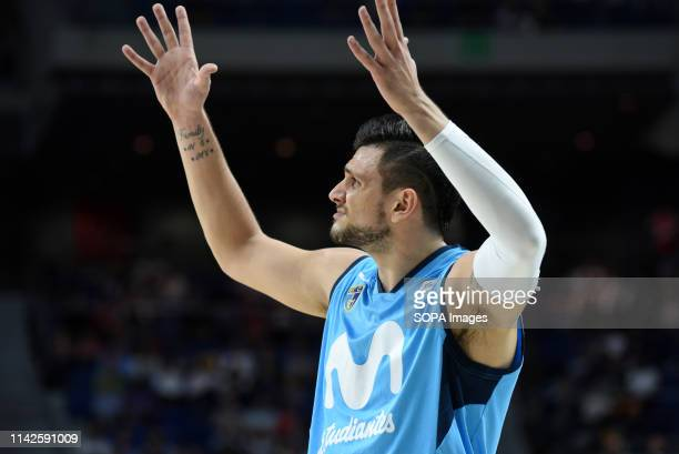 Alexandro Gentile #5 of Estudiantes is seen making a gesture during the 2018/2019 Liga Endesa Regular Season Game between Real Madrid and Movistar...