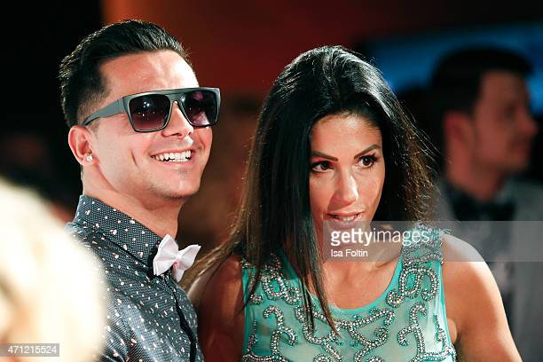 Alexandros Petropoulos and Anja Polzer attend the Fashion Charity Event 2015 in favor of the 'RTL Wir helfen Kindern' foundation at Unionhalle on...