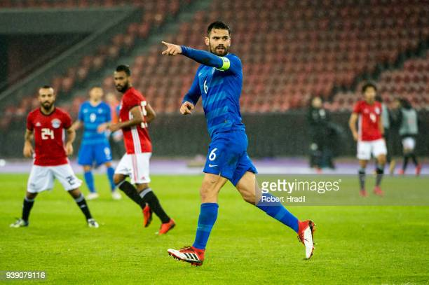 Alexandros Tziolis of Greece in action during the International Friendly between Egypt and Greece at the Letzigrund Stadium on March 27, 2018 in...