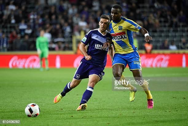Alexandru Chipciu midfielder of RSC Anderlecht and Khaleem Hyland midfielder of KVC Westerlo pictured during Jupiler Pro League match between RSC...