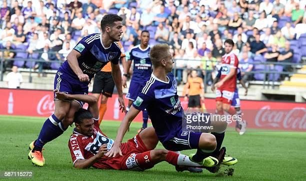 Alexandru Chipciu midfielder of RSC Anderlecht and Lukas Teodorczyk forward of RSC Anderlecht pictured during Jupiler Pro League second day...