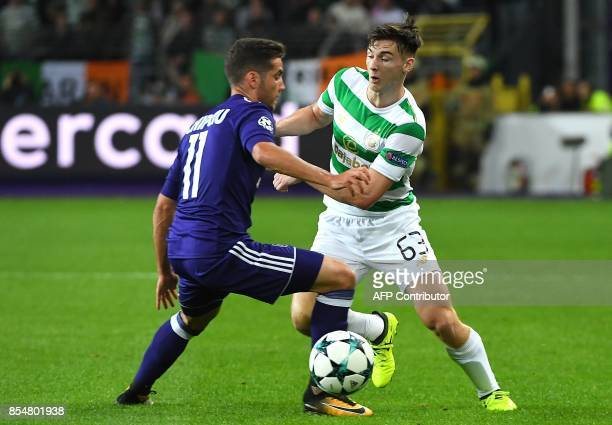 Alexandru Chipciu of RSC Anderlecht fights for the ball with Kieran Tierney of Celtic FC during the UEFA Champions League Group B football match RSC...
