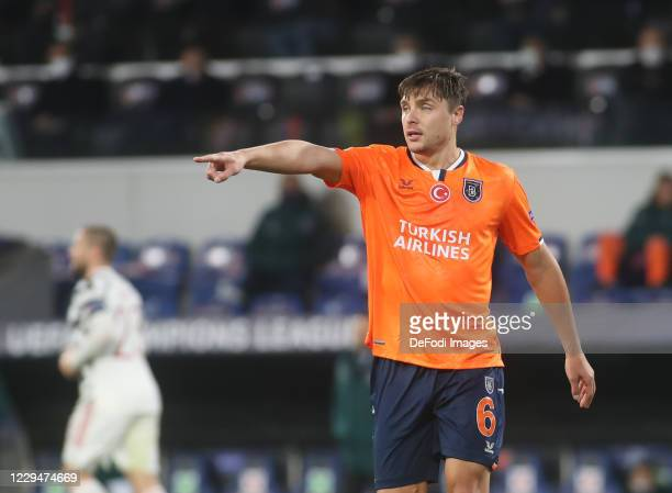 Alexandru Epureanu of Istanbul Basaksehir FK gestures during the UEFA Champions League Group H stage match between Istanbul Basaksehir and Manchester...