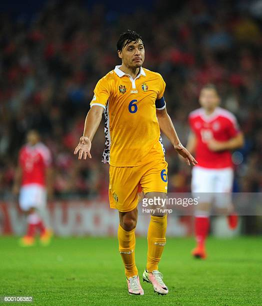 Alexandru Epureanu of Moldova vents his frustration during the 2018 FIFA World Cup Qualifier between Wales and Moldova at the Cardiff City Stadium on...