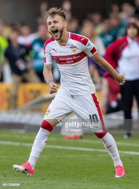 Alexandru Iulian Maxim of Stuttgart celebrate their win during the Second Bundesliga match between VfB Stuttgart and FC Wuerzburger Kickers at...