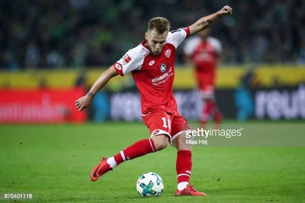 Alexandru Maxim of Mainz controls the ball during the Bundesliga match between Borussia Moenchengladbach and 1 FSV Mainz 05 at BorussiaPark on...