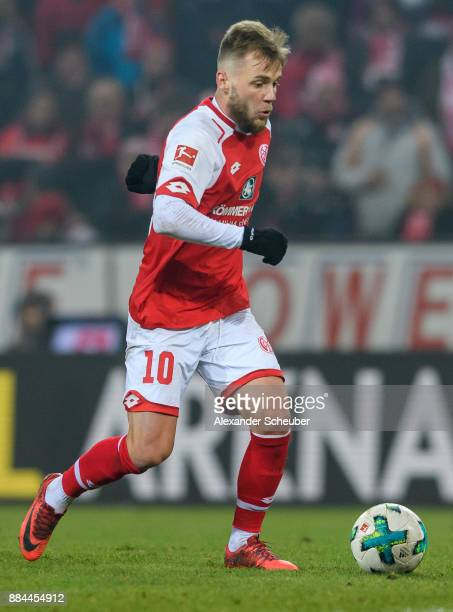 Alexandru Maxim of Mainz in action with the ball during the Bundesliga match between 1 FSV Mainz 05 and FC Augsburg at Opel Arena on December 2 2017...