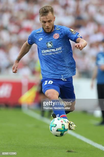 Alexandru Maxim of Mainz in action with the ball during the Bundesliga match between VfB Stuttgart and 1 FSV Mainz 05 at MercedesBenz Arena on August...
