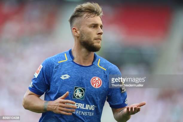 Alexandru Maxim of Mainz is seen during the Bundesliga match between VfB Stuttgart and 1 FSV Mainz 05 at MercedesBenz Arena on August 26 2017 in...