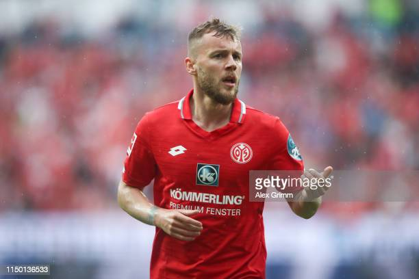 Alexandru Maxim of Mainz reacts during the Bundesliga match between 1. FSV Mainz 05 and TSG 1899 Hoffenheim at Opel Arena on May 18, 2019 in Mainz,...