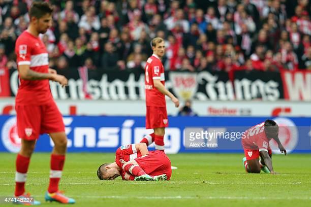 Alexandru Maxim of Stuttgart and team mates react during the Bundesliga match between VfB Stuttgart and Hertha BSC Berlin at MercedesBenz Arena on...