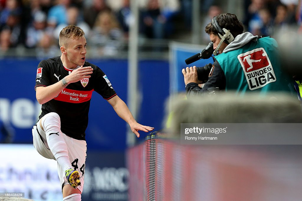 Alexandru Maxim of Stuttgart celebrates his teams opening goal during the Bundesliga match between Hamburger SV and VfB Stuttgart at Imtech Arena on October 20, 2013 in Hamburg, Germany.