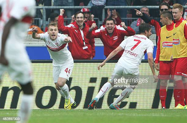 Alexandru Maxim of Stuttgart celebrates scoring his team's first goal during the Bundesliga match between VfB Stuttgart and SC Freiburg at...