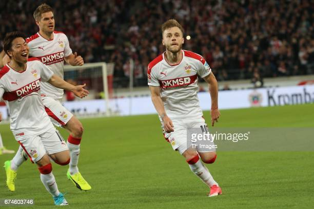 Alexandru Maxim of Stuttgart celebrates the first goal for his team during the Second Bundesliga match between VfB Stuttgart and 1 FC Union Berlin at...