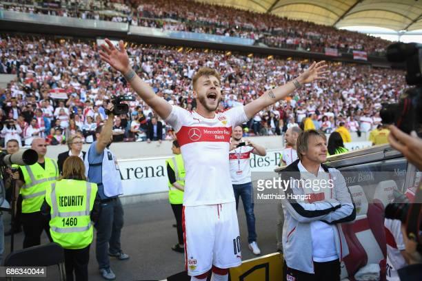 Alexandru Maxim of Stuttgart celebrates winning the 2 Second Bundesliga Championship title after the 2 Second Bundesliga match between VfB Stuttgart...