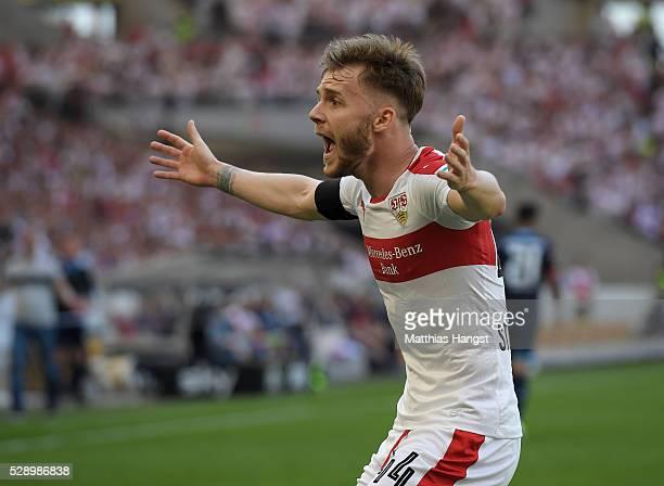 Alexandru Maxim of Stuttgart gestures during the Bundesliga match between VfB Stuttgart and 1 FSV Mainz 05 at MercedesBenz Arena on May 7 2016 in...