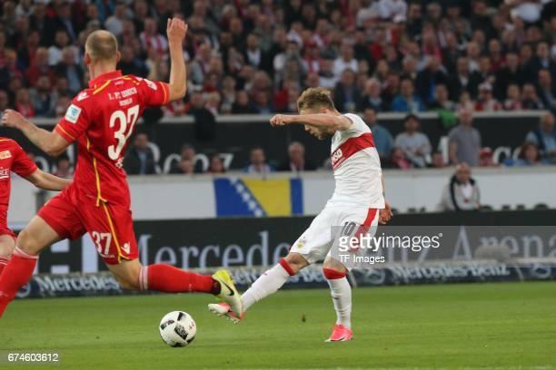 Alexandru Maxim of Stuttgart in action during the Second Bundesliga match between VfB Stuttgart and 1 FC Union Berlin at MercedesBenz Arena on April...