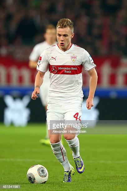 Alexandru Maxim of Stuttgart runs with the ball during the Bundesliga match between VfB Stuttgart and Borussia Moenchengladbach at MercedesBenz Arena...