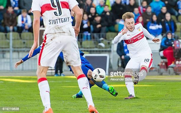 Alexandru Maxim of Stuttgart scores the third goal for his team during the Second Bundesliga match between Karlsruher SC and VfB Stuttgart at...