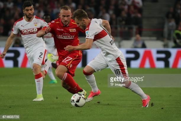 Alexandru Maxim of Stuttgart Toni Leistner of Union Berlin battle for the ball during the Second Bundesliga match between VfB Stuttgart and 1 FC...