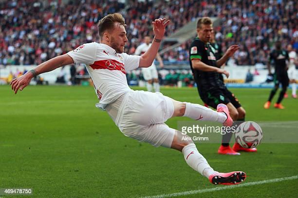 Alexandru Maxim of Stuttgart tries to controle the ball during the Bundesliga match between VfB Stuttgart and SV Werder Bremen at MercedesBenz Arena...
