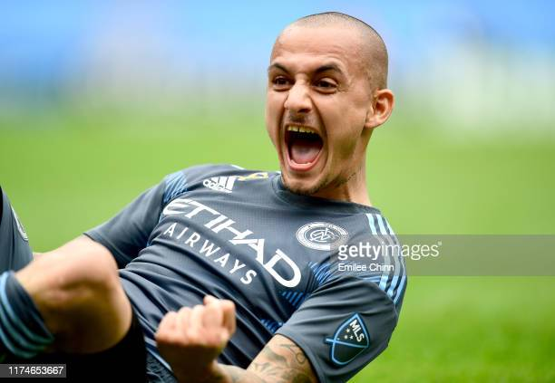 Alexandru Mitrita of New York City FC celebrates after scoring the second goal during the first half of their game against San Jose at Yankee Stadium...