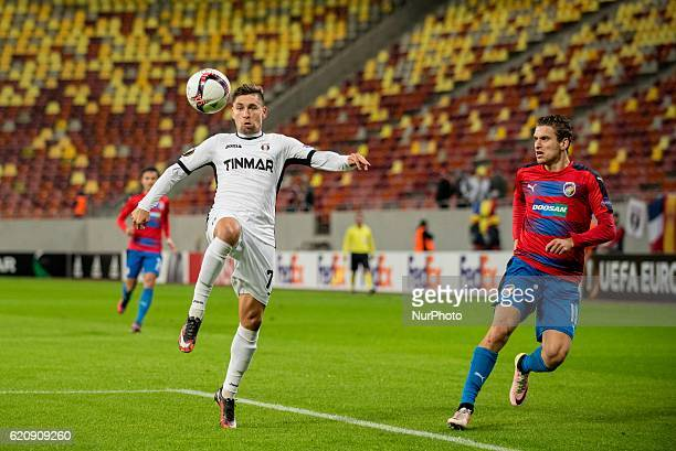 Alexandru Stan of FC Astra Giurgiu and Jan Kovarik of FC Viktoria Plzen during the UEFA Europa League 20162017 Group E game between FC Astra Giurgiu...