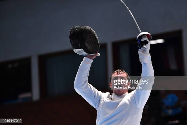 Alexanin Dmitriy of Kazakhstan celebrates victory after beating Park Sangyoung of Korea during Men's Epee Individual final match on day one of the...