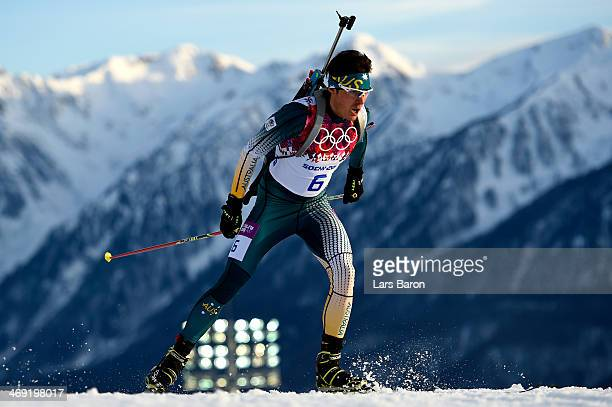 Alexei Almoukov of Australia competes in the Men's Individual 20 km during day six of the Sochi 2014 Winter Olympics at Laura Crosscountry Ski...