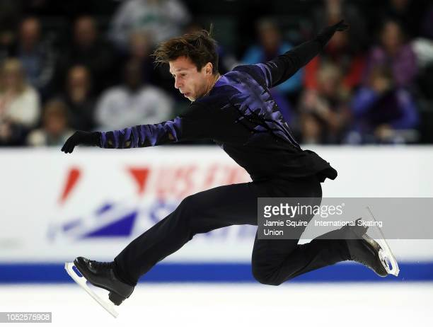 Alexei Bychenko of Israel competes in the Mens Short Program during the ISU Grand Prix of Figure Skating Skate America on October 19, 2018 in...
