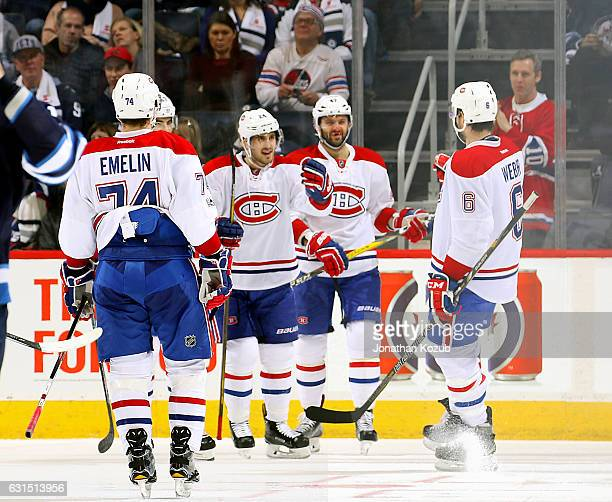 Alexei Emelin Max Pacioretty Phillip Danault Alexander Radulov and Shea Weber of the Montreal Canadiens celebrate a second period goal against the...