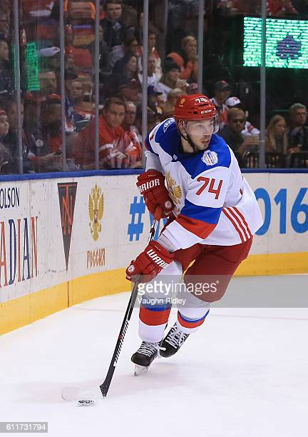Alexei Emelin of Team Russia stickhandles the puck against Team Canada at the semifinal game during the World Cup of Hockey 2016 tournament at the...