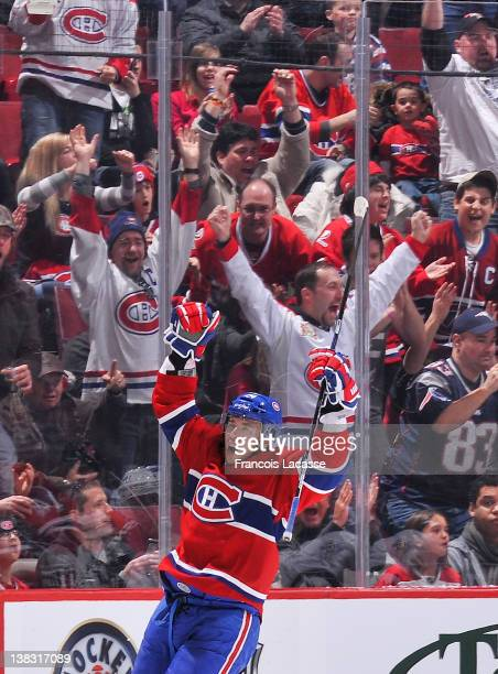 Alexei Emelin of the Montreal Canadiens celebrates his shorthanded goal during the NHL game against the Winnipeg Jets on February 5 2012 at the Bell...