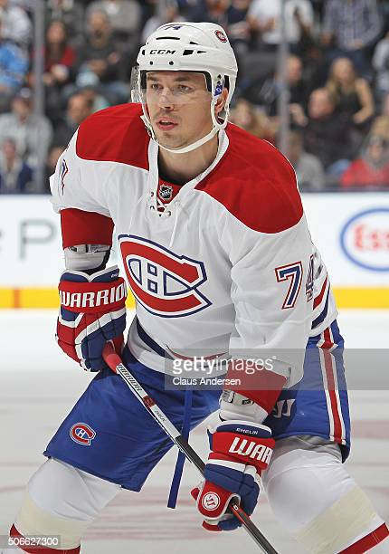 Alexei Emelin of the Montreal Canadiens gets set for a puck drop against the Toronto Maple Leafs during an NHL game at the Air Canada Centre on...