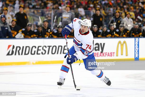 Alexei Emelin of the Montreal Canadiens shoots in the second period against the Boston Bruins during the 2016 Bridgestone NHL Winter Classic at...