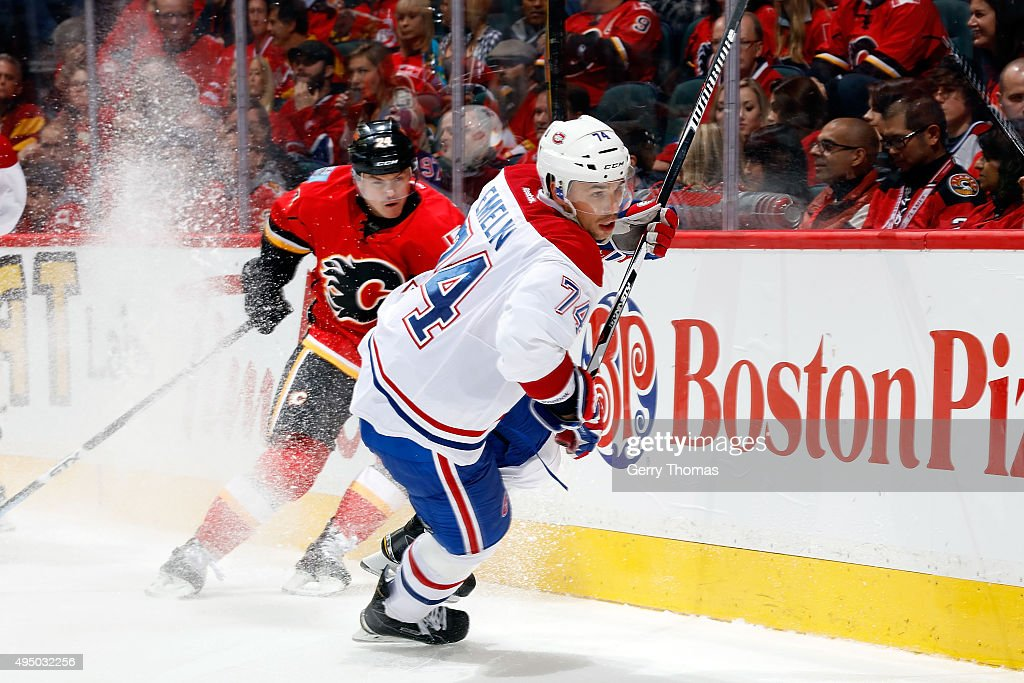 Alexei Emelin #74 of the Montreal Canadiens skates against the Calgary Flames during an NHL game at Scotiabank Saddledome on October 30, 2015 in Calgary, Alberta, Canada.