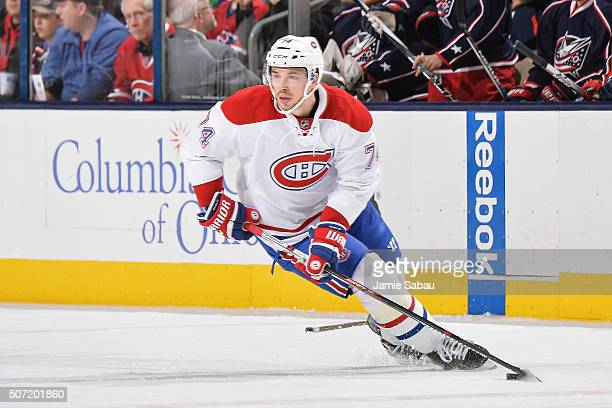 Alexei Emelin of the Montreal Canadiens skates against the Columbus Blue Jackets on January 25 2016 at Nationwide Arena in Columbus Ohio