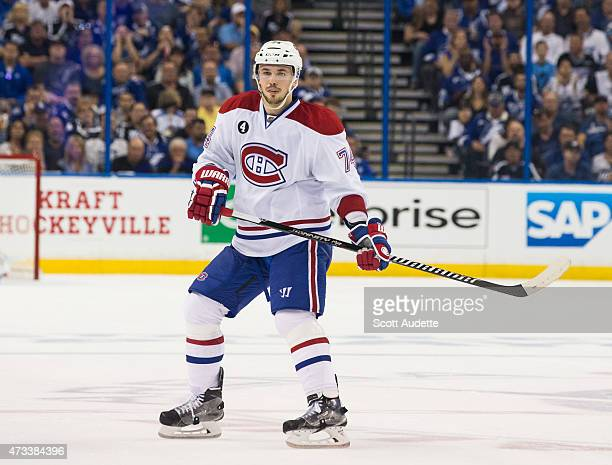 Alexei Emelin of the Montreal Canadiens skates against the Tampa Bay Lightning in Game Three of the Eastern Conference Semifinals during the 2015 NHL...