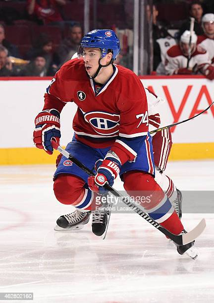Alexei Emelin of the Montreal Canadiens skates for position against the Phoenix Coyotes in the NHL game at the Bell Centre on February 1 2015 in...