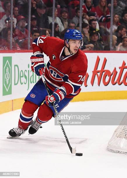 Alexei Emelin of the Montreal Canadiens skates with the puck against the Toronto Maple Leafs in the NHL game at the Bell Centre on February 14 2015...