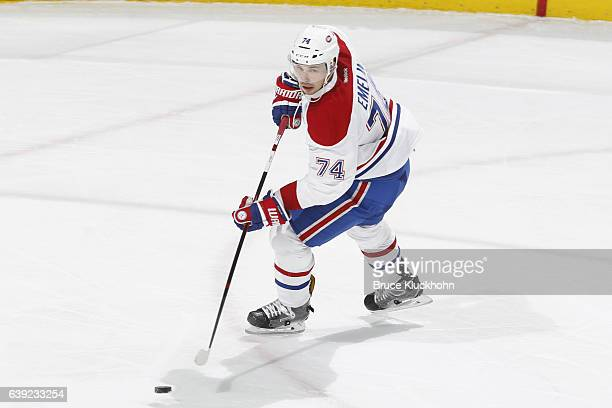 Alexei Emelin of the Montreal Canadiens skates with the puck against the Minnesota Wild during the game on January 12 2017 at the Xcel Energy Center...