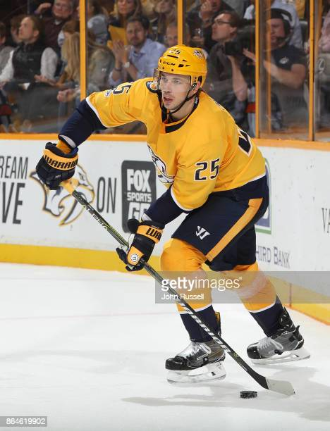 Alexei Emelin of the Nashville Predators skates against the Colorado Avalanche during an NHL game at Bridgestone Arena on October 17 2017 in...