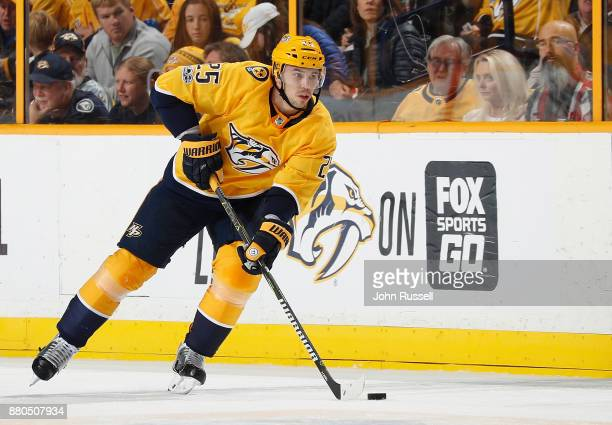 Alexei Emelin of the Nashville Predators skates against the Montreal Canadiens during an NHL game at Bridgestone Arena on November 22 2017 in...