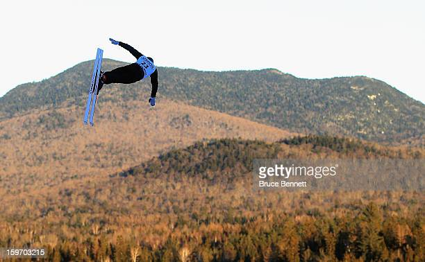 Alexei Grishin of Belarus practices prior to the USANA Freestyle World Cup aerial competition at the Lake Placid Olympic Jumping Complex on January...
