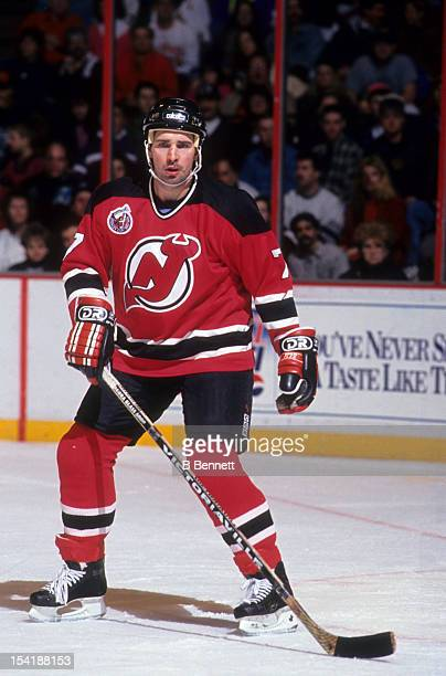 Alexei Kasatonov of the New Jersey Devils skates on the ice during an NHL game against the Philadelphia Flyers in February 1993 at the Spectrum in...